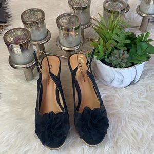 """CL by Laundry black slingback wedge open toe  shoes size 8.5"""""""